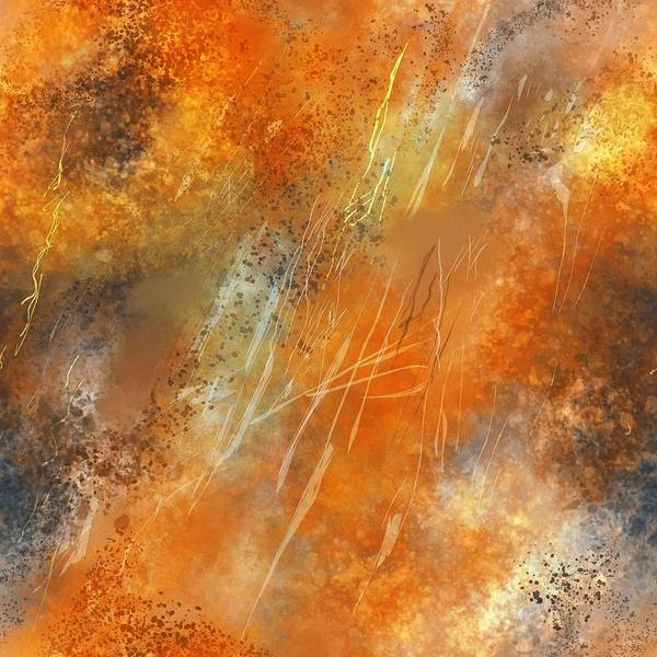 Painting - Bronze Abstract Flames by Joy of Life Art Gallery
