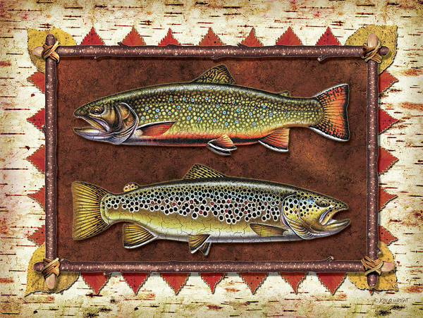 Fly Fishing Painting - Brook And Brown Trout Lodge by JQ Licensing