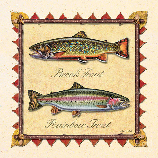Painting - Brook And Rainbow Trout Creme by JQ Licensing