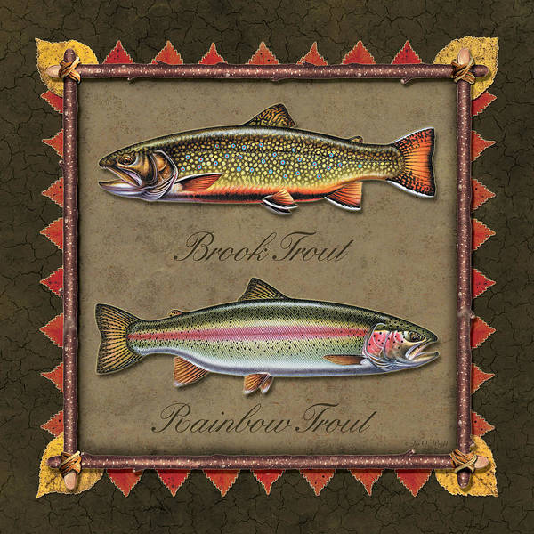 Painting - Brook And Rainbow Trout by JQ Licensing