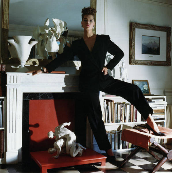 Wall Art - Photograph - Brooke Shields Wearing Black Jump Suit by Horst P Horst