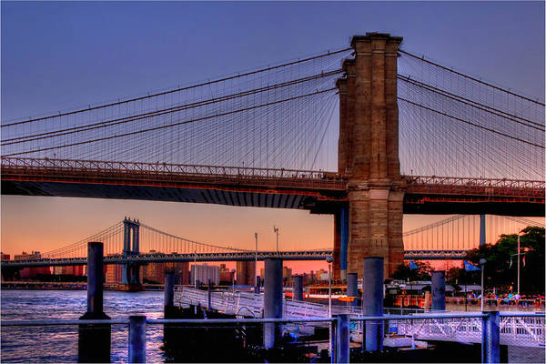 Photograph - Brooklyn And Manhattan Bridge Sunset by Joann Vitali
