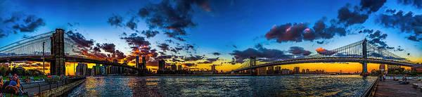 Photograph - Brooklyn And Manhattan Bridges At Sunset by Nick Zelinsky