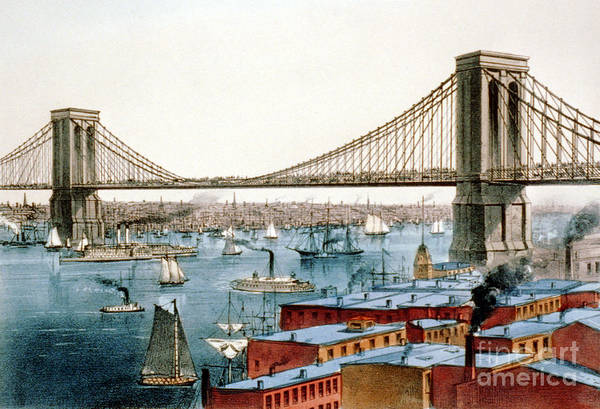 Photograph - Brooklyn Bridge, 1872 by Science Source