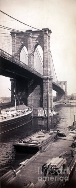 Photograph - Brooklyn Bridge, 1896 by Science Source