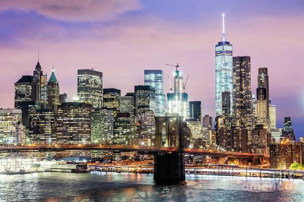 Wall Art - Photograph - Brooklyn Bridge And Manhattan Skyline At Dusk, New York, Usa by Matteo Colombo