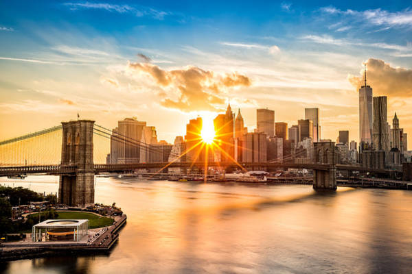 Lower Manhattan Photograph - Brooklyn Bridge And The Lower Manhattan Skyline At Sunset by Mihai Andritoiu