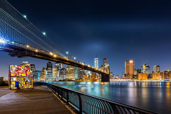 Photograph - Brooklyn Bridge And The Lower Manhattan Skyline By Night by Mihai Andritoiu