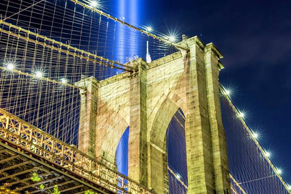 Brooklyn Bridge And The Tribute In Light Art Print by Zev Steinhardt