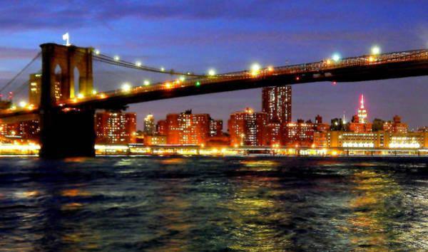 Bluehour Photograph - Brooklyn Bridge At Night by Charles Chin
