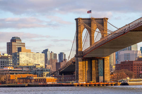 Photograph - Brooklyn Bridge At Sunset by SR Green