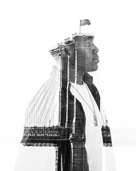 Multiple Exposure Digital Art - Brooklyn Bridge by Birgitte Magnus