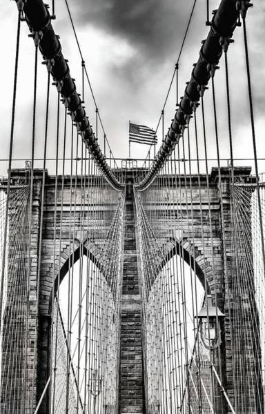 Photograph - Brooklyn Bridge Bw by Framing Places