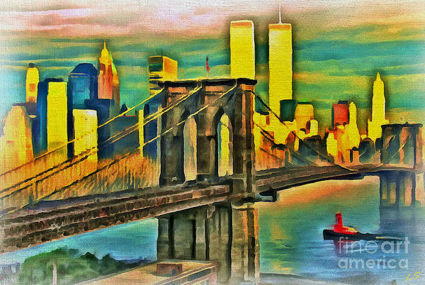 Twin Towers Drawing - Brooklyn Bridge Collection - 1 by Sergey Lukashin