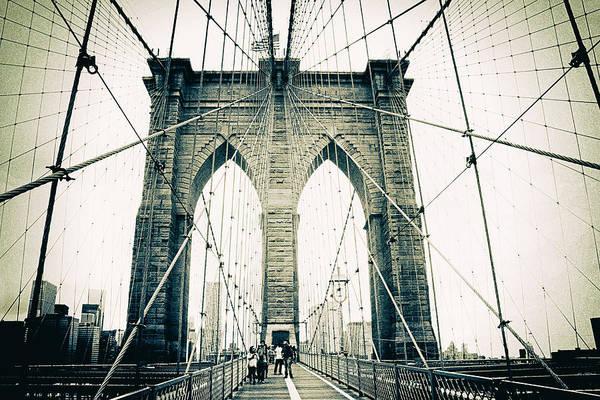 Photograph - Brooklyn Bridge Crossing by Jessica Jenney