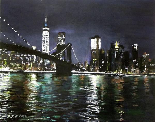 Wall Art - Painting - Brooklyn Bridge, East River At Night by Jack Skinner