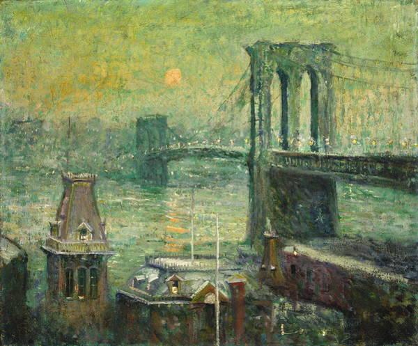 Manhattan Skyline Painting - Brooklyn Bridge by Ernest Lawson
