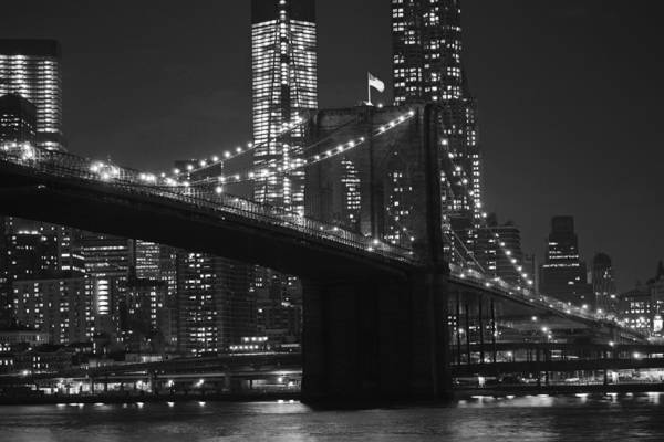 Photograph - Brooklyn Bridge From Empire Fulton Ferry State Park Black And White by Toby McGuire