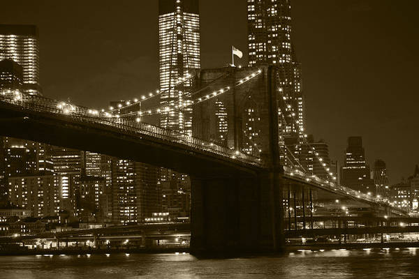 Photograph - Brooklyn Bridge From Empire Fulton Ferry State Park Sepia by Toby McGuire