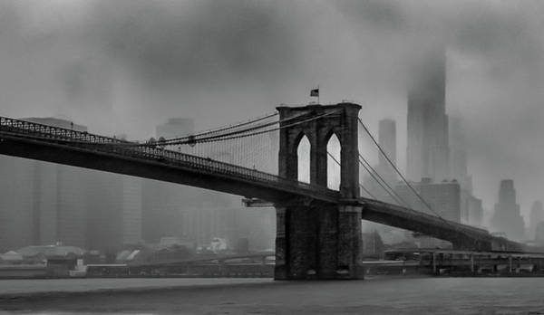 Photograph - Brooklyn Bridge In A Storm 2 by Adam Reinhart