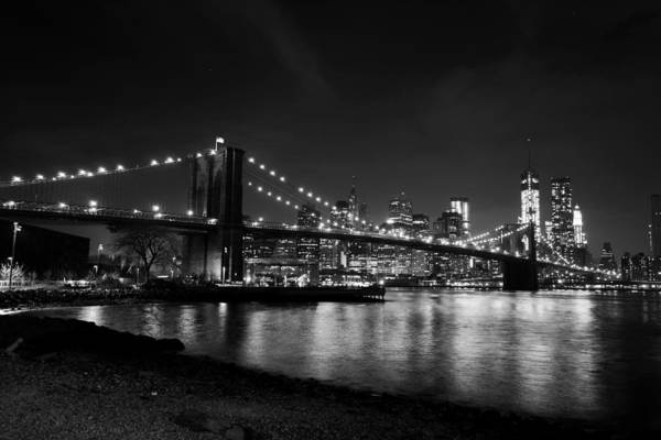 Photograph - Brooklyn Bridge In Black And White New York Skyline by Toby McGuire