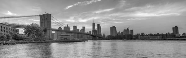 Photograph - Brooklyn Bridge Monochrome Panoramic by Scott McGuire