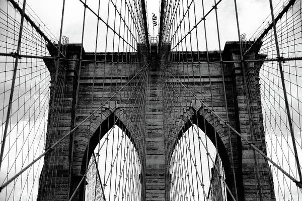 Photograph - Brooklyn Bridge - New York City Bw 8 by Frank Romeo
