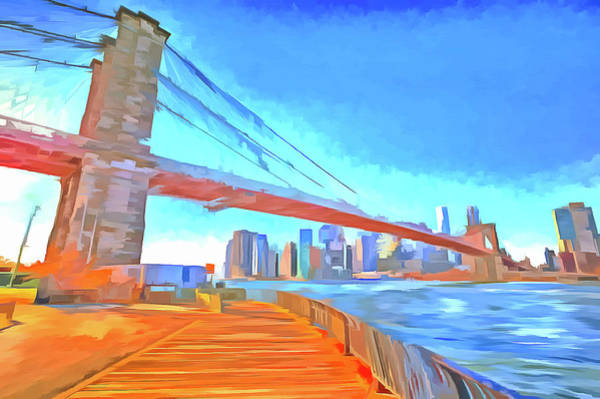 Wall Art - Photograph - Brooklyn Bridge New York Pop Art by David Pyatt