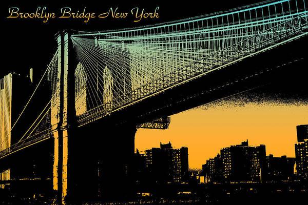 Mixed Media - Brooklyn Bridge New York Poster by Peter Potter