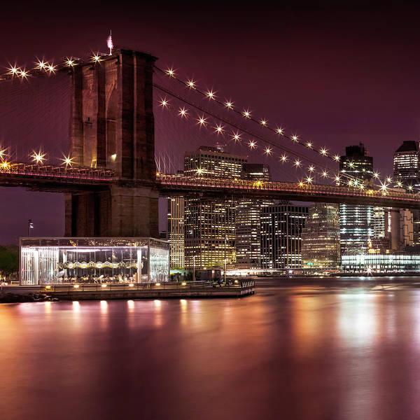 Wall Art - Photograph - Brooklyn Bridge Nightly Impressions  by Melanie Viola
