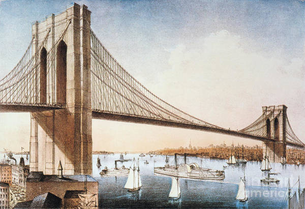 Painting - Brooklyn Bridge, Nyc, 1881 by Granger