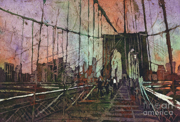 Wall Art - Painting - Brooklyn Bridge Nyc Batik by Ryan Fox