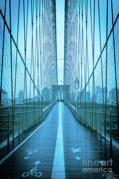 Photograph - Brooklyn Bridge Nyc Blue D by Edward Fielding