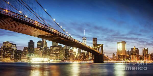 Wall Art - Photograph - Brooklyn Bridge Panoramic At Night, New York, Usa by Matteo Colombo