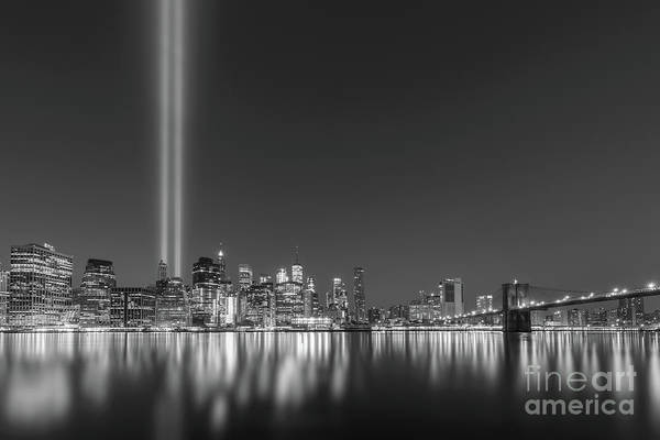 Wall Art - Photograph - Brooklyn Bridge Park Tribute In Light Bw by Michael Ver Sprill