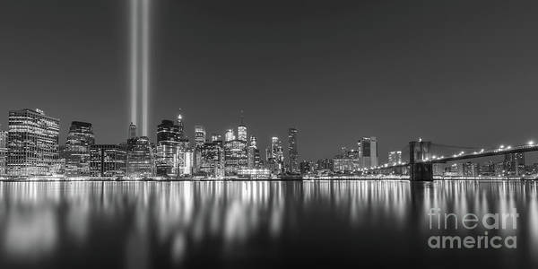 Wall Art - Photograph - Brooklyn Bridge Park Tribute In Light Pano Bw by Michael Ver Sprill