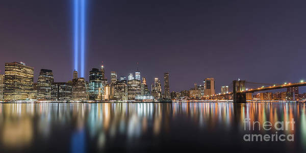 Wall Art - Photograph - Brooklyn Bridge Park Tribute In Light Pano  by Michael Ver Sprill