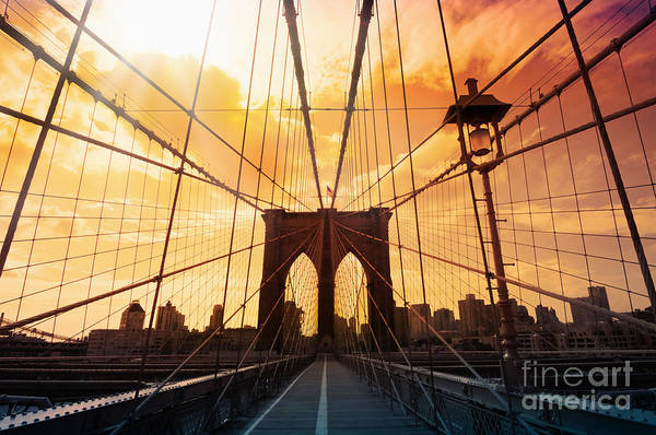 Father Sky Wall Art - Photograph - Brooklyn Bridge Silhouette by Delphimages Photo Creations