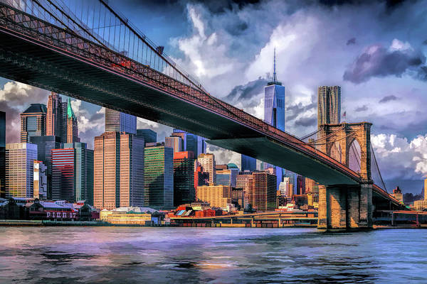 Painting - New York City Brooklyn Bridge Skyline by Christopher Arndt