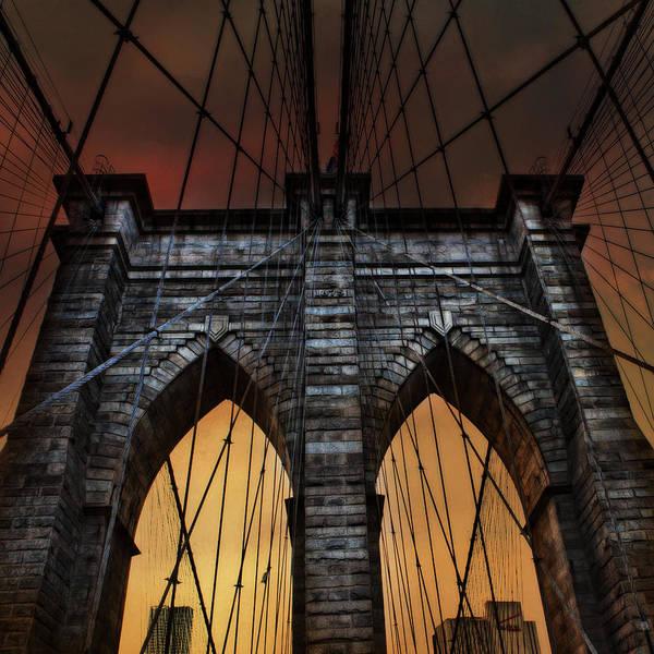 Photograph - Brooklyn Bridge Summer Sunrise by Evie Carrier