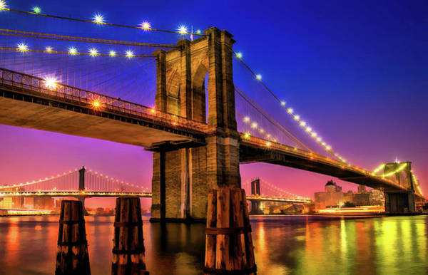 Painting - New York City Brooklyn Bridge Sunset by Christopher Arndt