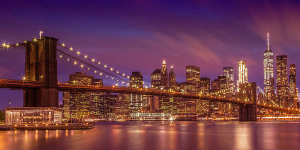 Wall Art - Photograph - Brooklyn Bridge Sunset - Panorama by Melanie Viola