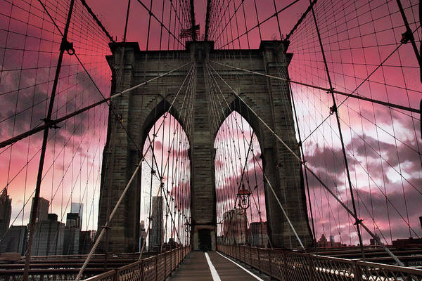 Cable Digital Art - Brooklyn Bridge Sunset Silhouette by Jessica Jenney