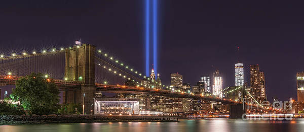 September 11 Wall Art - Photograph - Brooklyn Bridge Tribute In Light by Michael Ver Sprill