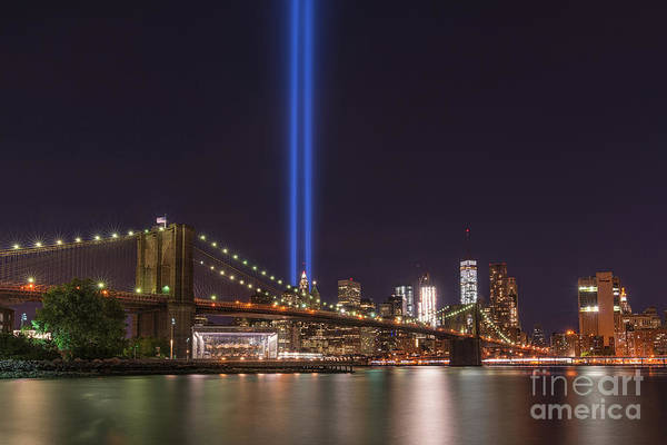 September 11 Wall Art - Photograph - Brooklyn Bridge Tribute In Lights  by Michael Ver Sprill
