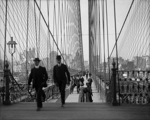 Wall Art - Photograph - Brooklyn Bridge - Vintage New York - 1910 by War Is Hell Store