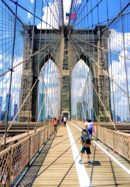 Painting - New York City Brooklyn Bridge Walkway by Christopher Arndt