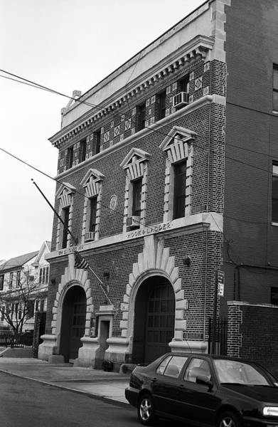 Photograph - Brooklyn Firehouse Building 2001 Bw by Frank Romeo