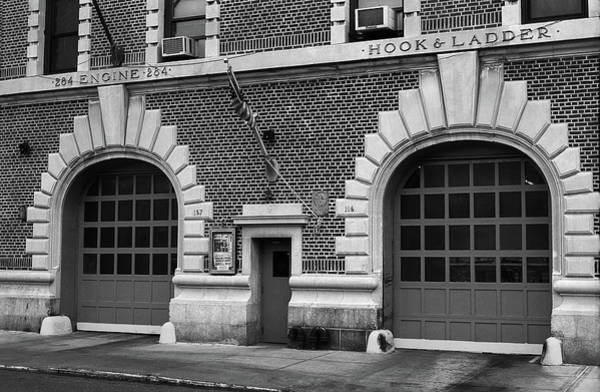 Photograph - Brooklyn Firehouse Double Doors 2001 Bw by Frank Romeo