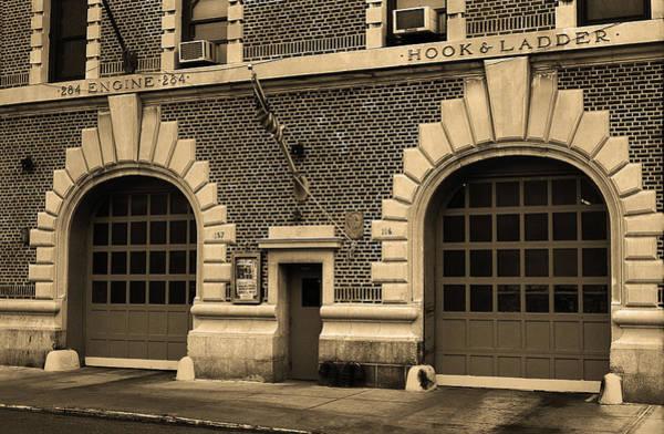 Wall Art - Photograph - Brooklyn Firehouse Double Doors 2001 Sepia by Frank Romeo